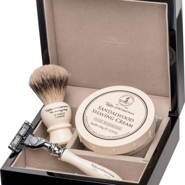 © Taylor of Old Bond Street Shaving Set Sandalwood in edler Klavierlackschatulle